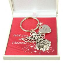 Christmas Angel, Personalised Keyring